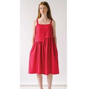 Reifhaus Escalera Linen Cardinal Midi Dress Medium